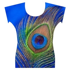 Blue Peacock Feather Women s Cap Sleeve Top
