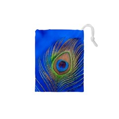 Blue Peacock Feather Drawstring Pouches (XS)