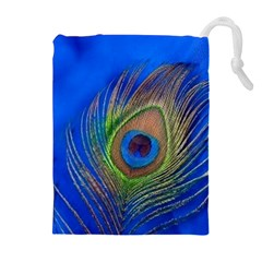 Blue Peacock Feather Drawstring Pouches (extra Large)