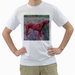 Redbone Coonhound Full Men s T-Shirt (White) (Two Sided)
