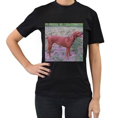 Redbone Coonhound Full Women s T-Shirt (Black) (Two Sided)