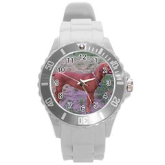 Redbone Coonhound Full Round Plastic Sport Watch (L)