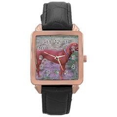 Redbone Coonhound Full Rose Gold Leather Watch