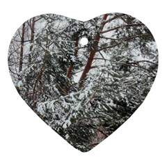 Winter Fall Trees Heart Ornament (Two Sides)