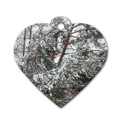 Winter Fall Trees Dog Tag Heart (One Side)