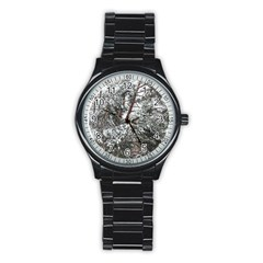 Winter Fall Trees Stainless Steel Round Watch