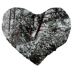 Winter Fall Trees Large 19  Premium Flano Heart Shape Cushions