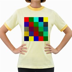 Chessboard Multicolored Women s Fitted Ringer T-Shirts