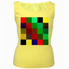Chessboard Multicolored Women s Yellow Tank Top