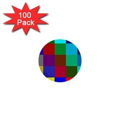 Chessboard Multicolored 1  Mini Buttons (100 pack)