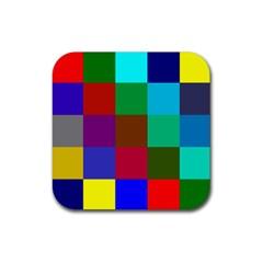 Chessboard Multicolored Rubber Square Coaster (4 pack)