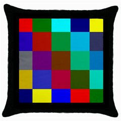 Chessboard Multicolored Throw Pillow Case (Black)