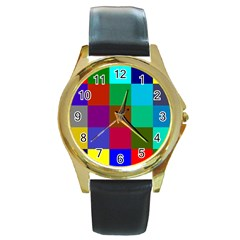 Chessboard Multicolored Round Gold Metal Watch