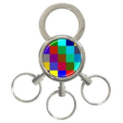 Chessboard Multicolored 3-Ring Key Chains