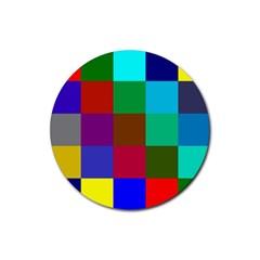 Chessboard Multicolored Rubber Coaster (Round)