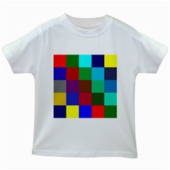 Chessboard Multicolored Kids White T-Shirts