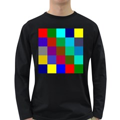 Chessboard Multicolored Long Sleeve Dark T-Shirts