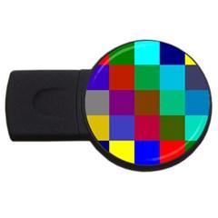 Chessboard Multicolored USB Flash Drive Round (4 GB)