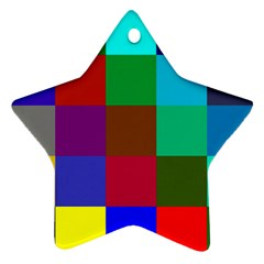 Chessboard Multicolored Star Ornament (Two Sides)