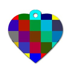 Chessboard Multicolored Dog Tag Heart (One Side)