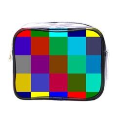 Chessboard Multicolored Mini Toiletries Bags