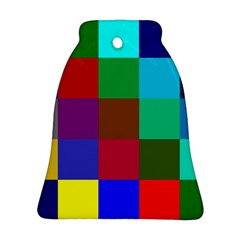 Chessboard Multicolored Bell Ornament (Two Sides)