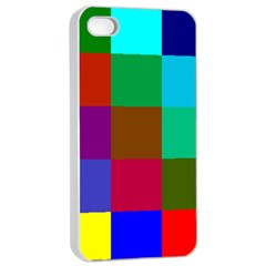 Chessboard Multicolored Apple iPhone 4/4s Seamless Case (White)