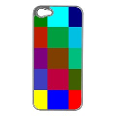 Chessboard Multicolored Apple iPhone 5 Case (Silver)