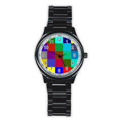 Chessboard Multicolored Stainless Steel Round Watch