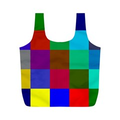 Chessboard Multicolored Full Print Recycle Bags (M)