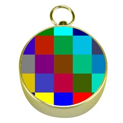 Chessboard Multicolored Gold Compasses