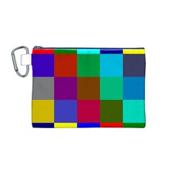 Chessboard Multicolored Canvas Cosmetic Bag (M)