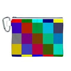 Chessboard Multicolored Canvas Cosmetic Bag (L)