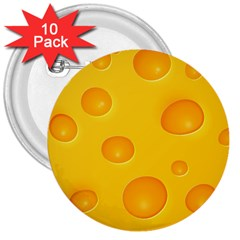 Cheese 3  Buttons (10 pack)