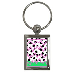Wave Chevron Circle Purple Green White Black Key Chains (Rectangle)