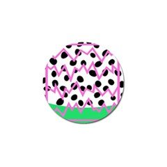 Wave Chevron Circle Purple Green White Black Golf Ball Marker
