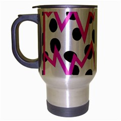 Wave Chevron Circle Purple Green White Black Travel Mug (Silver Gray)