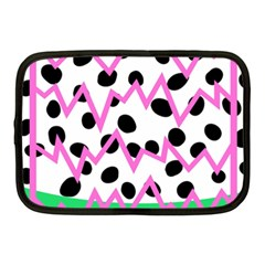 Wave Chevron Circle Purple Green White Black Netbook Case (Medium)