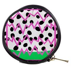 Wave Chevron Circle Purple Green White Black Mini Makeup Bags