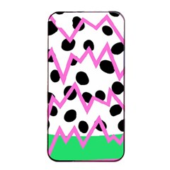 Wave Chevron Circle Purple Green White Black Apple iPhone 4/4s Seamless Case (Black)