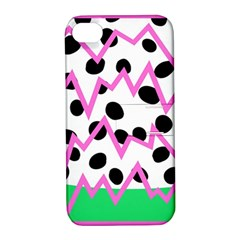 Wave Chevron Circle Purple Green White Black Apple iPhone 4/4S Hardshell Case with Stand
