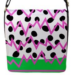 Wave Chevron Circle Purple Green White Black Flap Messenger Bag (S)