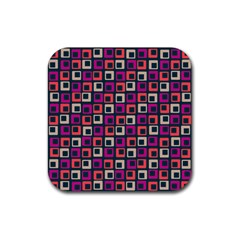 Abstract Squares Rubber Square Coaster (4 pack)