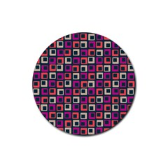 Abstract Squares Rubber Round Coaster (4 pack)