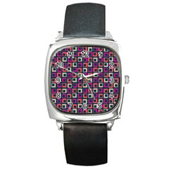Abstract Squares Square Metal Watch