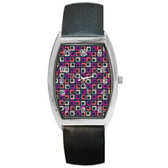 Abstract Squares Barrel Style Metal Watch
