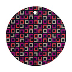 Abstract Squares Round Ornament (Two Sides)