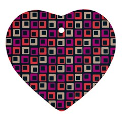 Abstract Squares Heart Ornament (Two Sides)