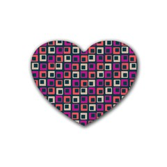 Abstract Squares Rubber Coaster (Heart)