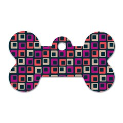 Abstract Squares Dog Tag Bone (Two Sides)